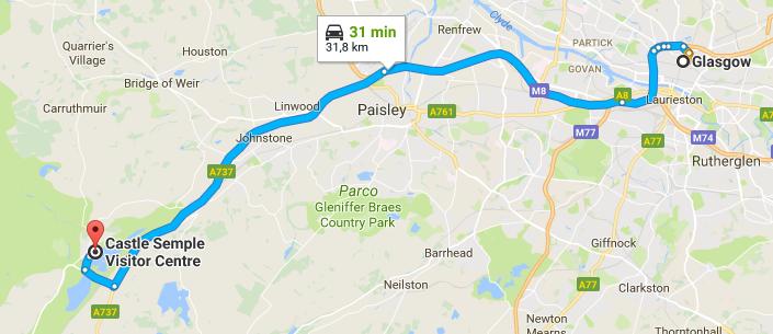 da Glasgow Regno Unito a Castle Semple Visitor Centre Google Maps