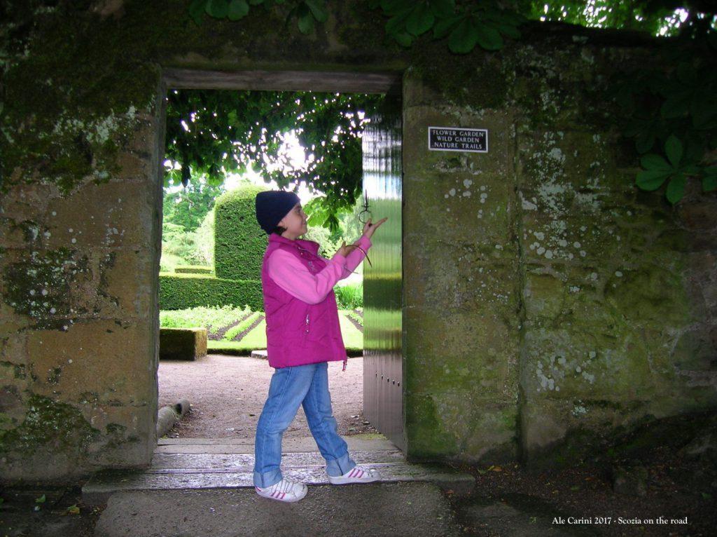 porta, giardino, persona, castello
