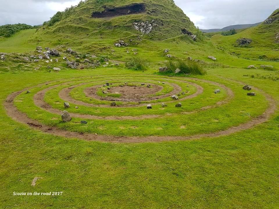 spirale nell'erba e pietre