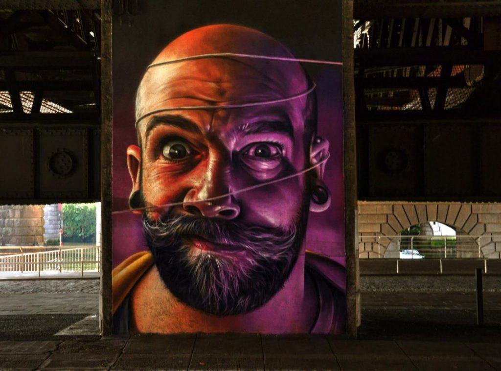 murales, faccia di uomo