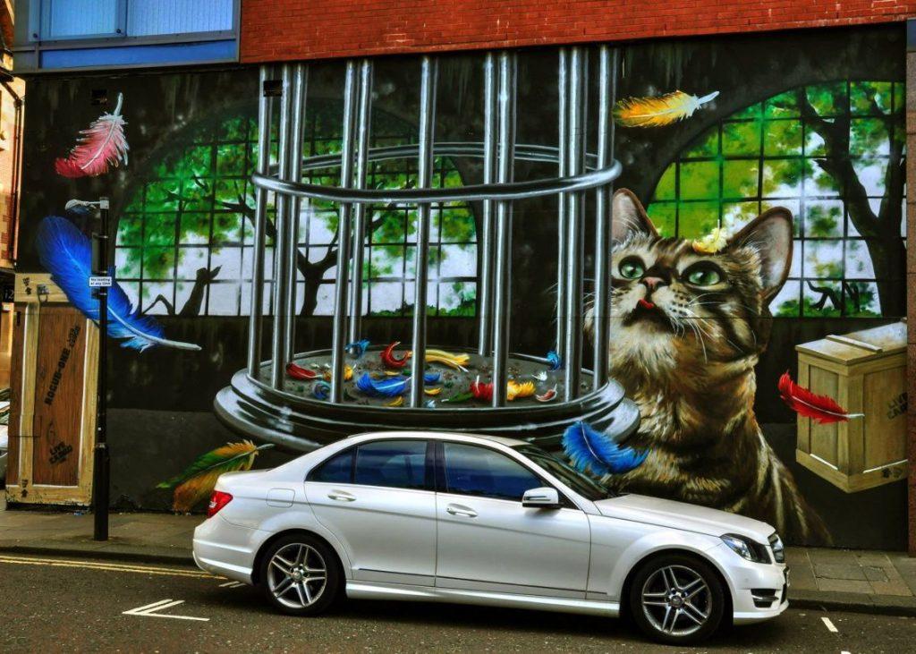 glasgow murales, gatto e auto
