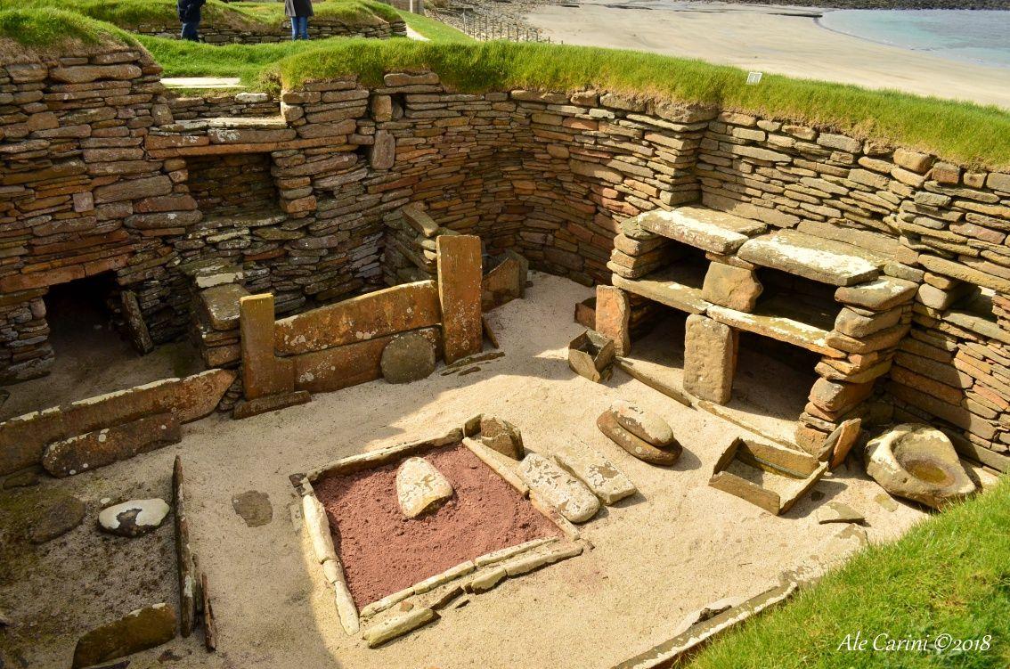 interno di casa, villaggio neolitico, isole orcadi
