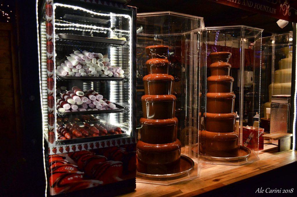 edimburgo mercatini, cascate di cioccolata