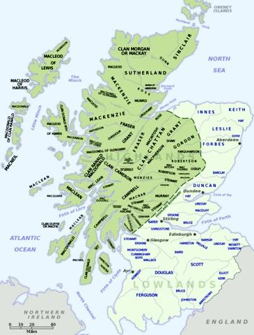 mappa dei Clan scozzesi
