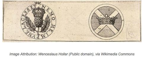 stampa con simboli araldici - simboli scozzesi