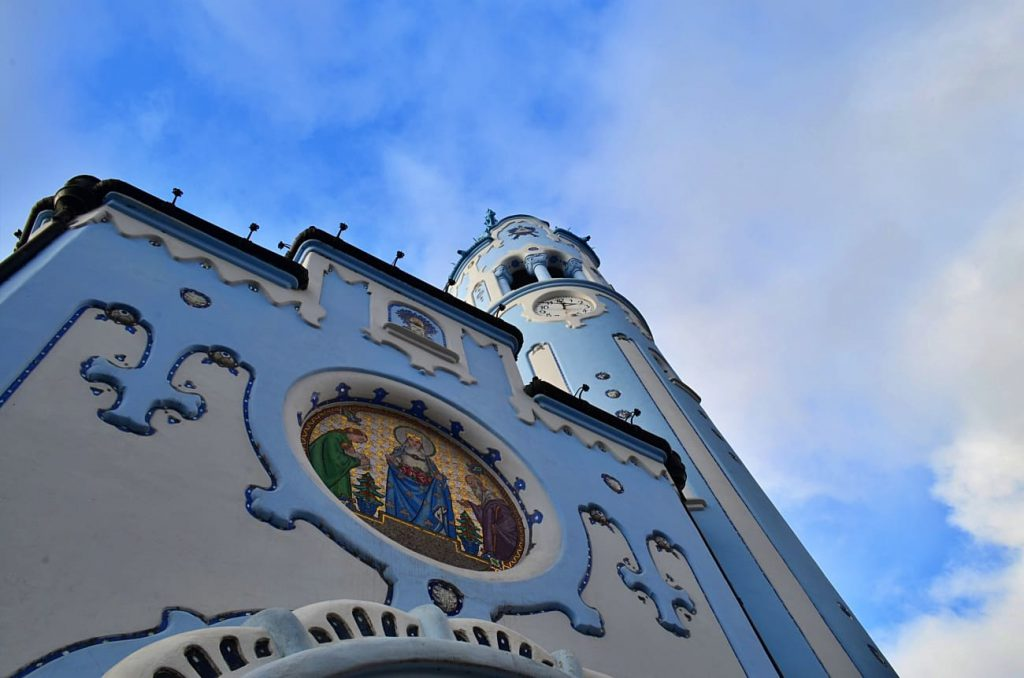 rosone e campanile chiesa blu di bratislava