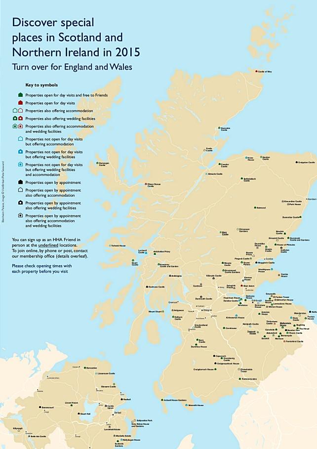 mappa siti gestiti da HHA, Scozia Pass attrazioni turistiche