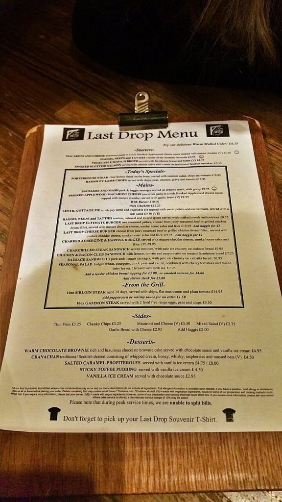 menù del the last drop